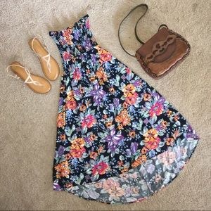 Strapless high low floral dress
